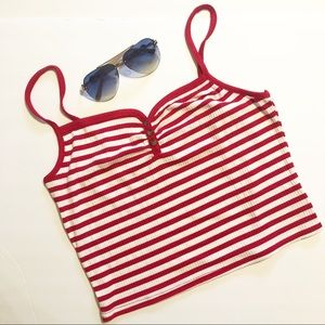 NWOT Topshop Red & White Ribbed Knit Crop Tank Top